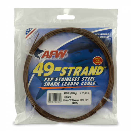AFW 49-STRAND STAINLESS STEEL SHARK LEADER WIRE K480C-0