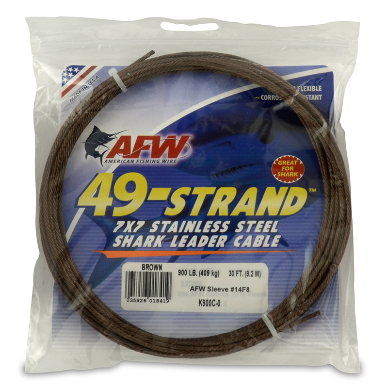 AFW 49-STRAND STAINLESS STEEL SHARK LEADER WIRE K900C-0