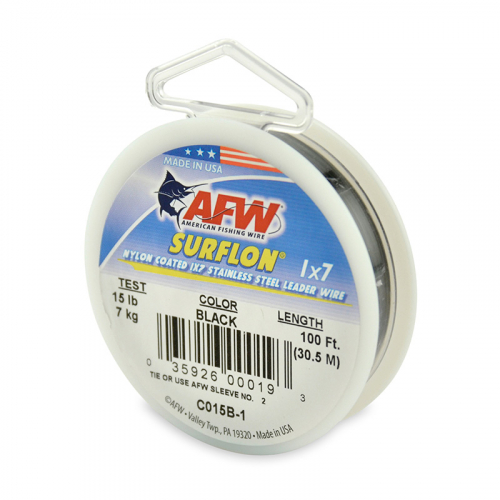 AFW SURFLON NYLON COATED STAINLESS STEEL LEADER WIRE BLACK C015B-1