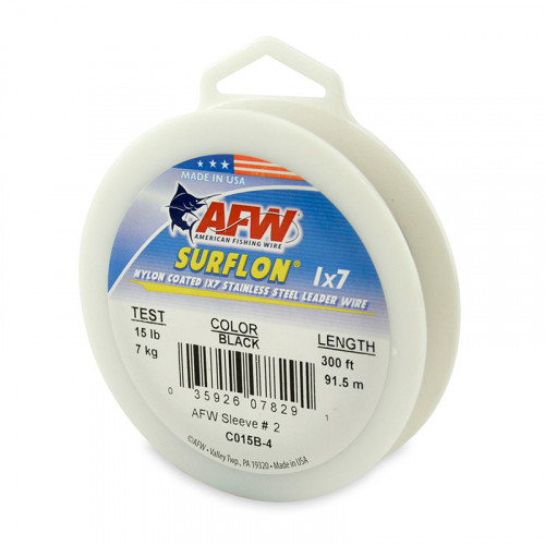 AFW SURFLON NYLON COATED STAINLESS STEEL LEADER WIRE BLACK C015B-4