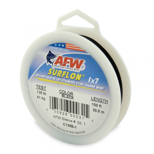 AFW SURFLON NYLON COATED STAINLESS STEEL LEADER WIRE BLACK C135B-1