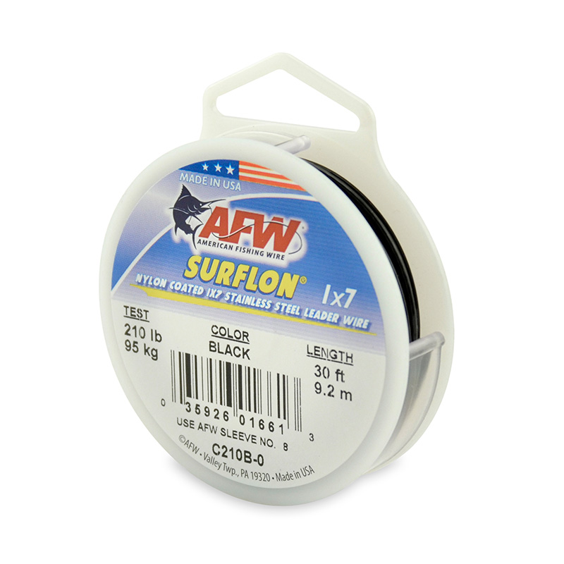 AFW SURFLON NYLON COATED STAINLESS STEEL LEADER WIRE BLACK C210B-0
