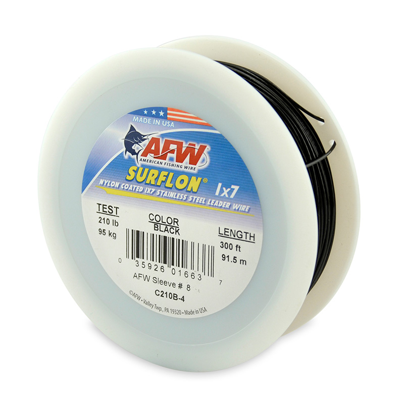 AFW SURFLON NYLON COATED STAINLESS STEEL LEADER WIRE BLACK C210B-4