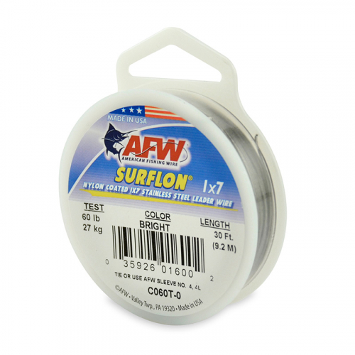 AFW SURFLON NYLON COATED STAINLESS STEEL LEADER WIRE BRIGHT C060T-0