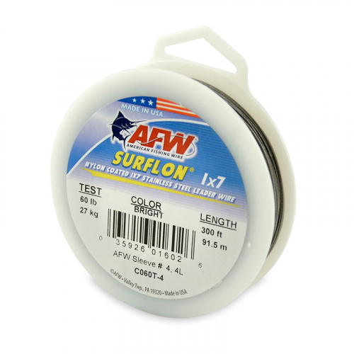 AFW SURFLON NYLON COATED STAINLESS STEEL LEADER WIRE BRIGHT C060T-4