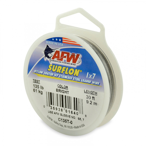 AFW SURFLON NYLON COATED STAINLESS STEEL LEADER WIRE BRIGHT C135T-0