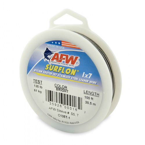 AFW SURFLON NYLON COATED STAINLESS STEEL LEADER WIRE BRIGHT C135T-1