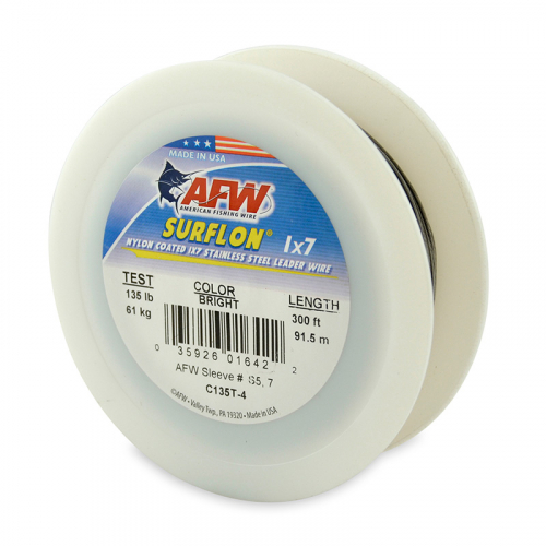 AFW SURFLON NYLON COATED STAINLESS STEEL LEADER WIRE BRIGHT C135T-4