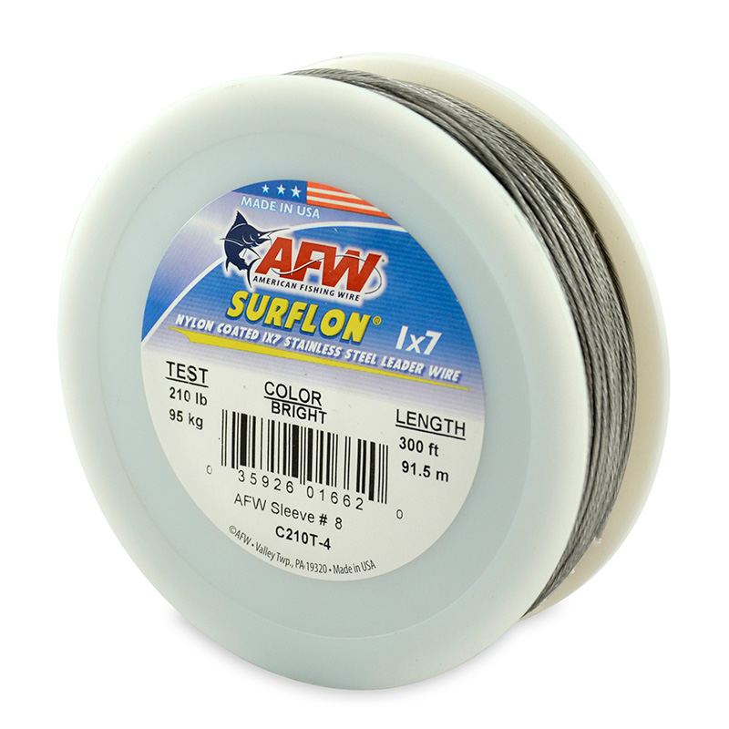 AFW SURFLON NYLON COATED STAINLESS STEEL LEADER WIRE BRIGHT C210T-4
