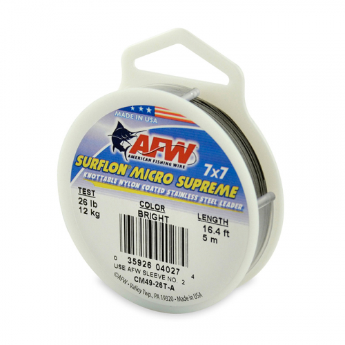 AMERICAN FISHING WIRE SURFLON MICRO SUPREME LEADER WIRE BRIGHT CM49-26T-A